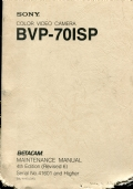 Sony BVP-70IS color video camera.  Maintenance  Manual