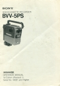 Sony BVV-5ps videocassette recorder -  operation manual