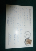 CARTOLINA VIAGGIATA AUTOGRAFA DELLA MEDIEVISTA PROF. SSA GINA FASOLI BOLOGNA 1955