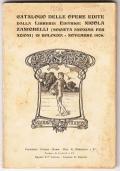 CATALOGO DELLE OPERE EDITE DALLA LIBRERIA EDITRICE NOCOLA ZANICHELLI 1909