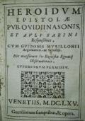 Heroidum epistolae Pub. Ovidii Nasonis Et Auli Sabini responsiones, cum Guidonis Murilloni Argumentis, ac Scholijs