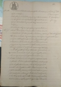 Documento manoscritto del 1887 con timbri e marca di riscontro da 50 C.