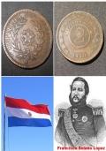 Paraguay 2 centesimos, 1870.