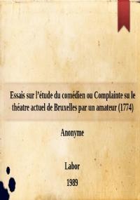 Observations sur l'art du comédien (Paris, chez la veuve Duchesne, 1775)