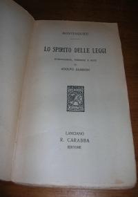 Lo spirito delle Leggi Introduzione, versione e note di Adolfo Zamboni