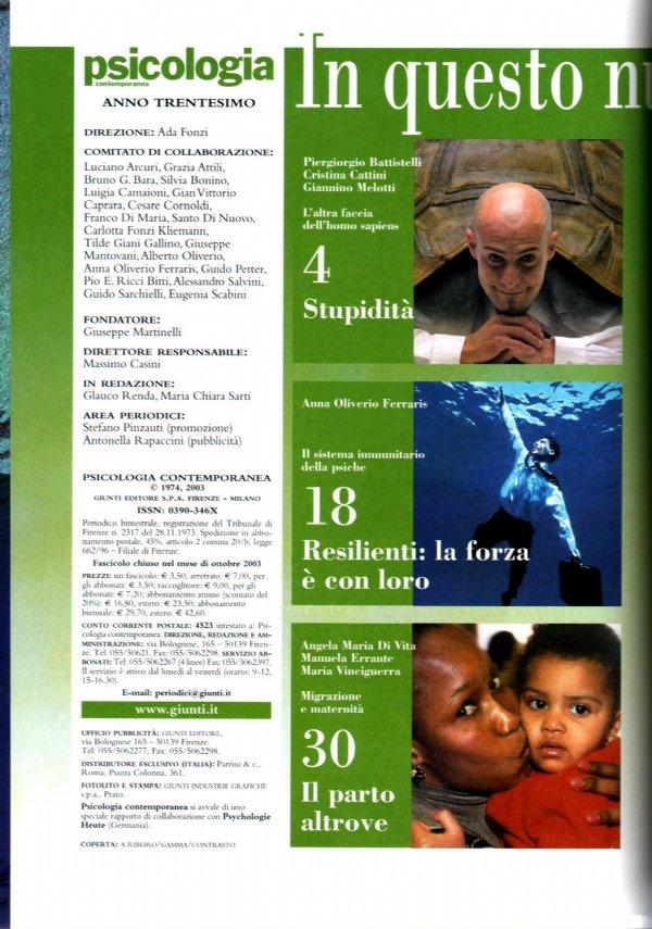 Minacce alla democrazia: LA MENTE AUTORITARIA («Psicologia contemporanea» n. 180 - Novembre/Dicembre 2003) - [COME NUOVO]