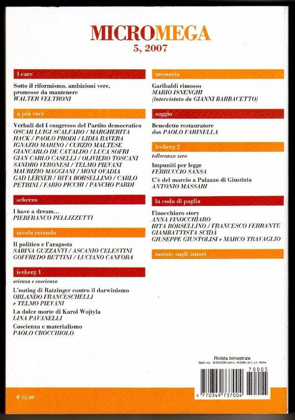MicroMega 5/2007 - IL PARTITO DEMOCRATICO È IL SOLE ROSSO DEI NOSTRI CUORI - [NUOVO]