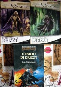 Lotto 3 libri fantasy Forgotten Realms Trilogia degli elfi scuri: Il dilemma di Drizzt, La fuga di Drizzt, L'esilio di Drizzt SERIE COMPLETA