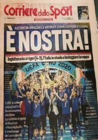 Tuttosport 12/07/2021 Vittoria Italia Calcio